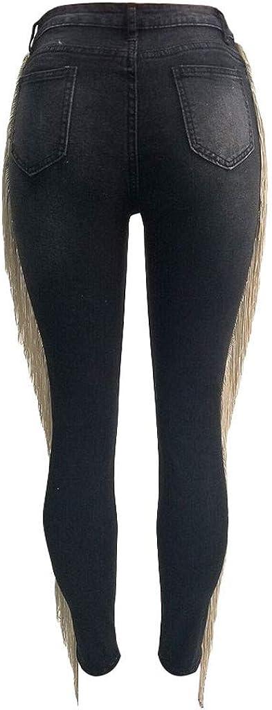 WUAI-Women Juniors Hight Waisted Butt Lift Stretch Tassels Ripped Skinny Jeans Denim Pants Capri Bermuda