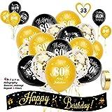 HOWAF Kit de decoración cumpleaños, 2,7 m Pancarta holográfica de Feliz cumpleaños y 80 cumpleaños Globos de Latex para Mujer y Hombre 80 cumpleaños decoración Fiesta de Suministros, Oro Negro