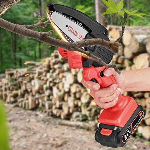 InLoveArts Mini Chainsaw 4-Inch Cordless Chain Saws,Pruning Shears Chainsaw for Courtyard Christmas trees Branch Wood Cutting, 21V Chainsaw