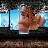 Fdit Pokemon Alolan Vulpix Anime 5 Piezas Pintura Arte de Pared HD Impreso Cartel Modular Lienzo decoración del hogar imágenes para Sala de Estar