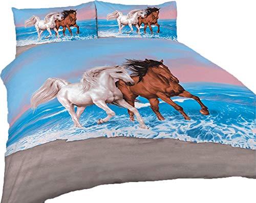 Duvet Cover Set 3D Animal Print Effect Quilt Bedding Set New (Horse Print Multi, Double)