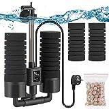AQQA Filtro de esponja eléctrico para acuario de 3 W/5 W Silence, filtro de espuma sumergible, esponjas biocerámicas, doble filtro para acuario de agua salada y dulce (M).