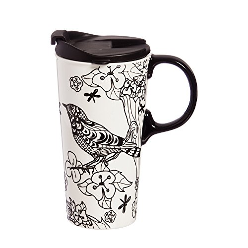 Botanical Bird Just Add Color Ceramic Travel Cup - 4 x 5 x 7 Inches