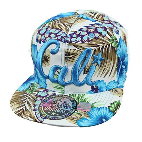 CALI Baseball Cap Snapback Hawaiian Hat Floral Fashion Casual Flat Bill Tropical (White/Blue)