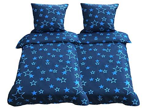 Leonado Vicenti - Bettwäsche 135x200 4teilig Mikrofaser blau Sterne mit Reißverschluss