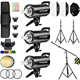 Godox 3 Pack SK400II 1200Ws 2.4G Speedlite Studio Flash Strobe Monolight Bowens Mount Kit for Studio Shooting, Location and Portrait Photography with Softbox, Light Stand, Barn Door Kit, Carrying Case