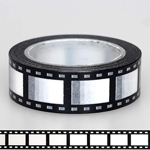 BQYQFXX 1X 15mm Cinta cámara Negativo Negro Blanco película de impresión 10m Scrapbooking DIY de la Etiqueta engomada de enmascaramiento japonés Washi Cinta de Papel