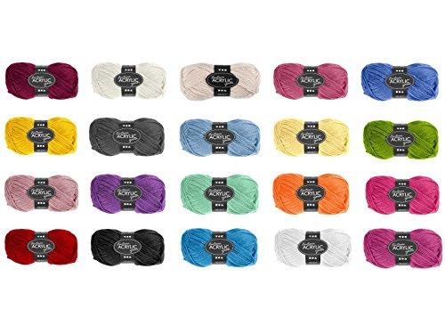 Fantasia 100% Polyacryl Wolle - 3-fädige Wolle - Länge 80m - 50g (verschiedene Farben) (Türkis)