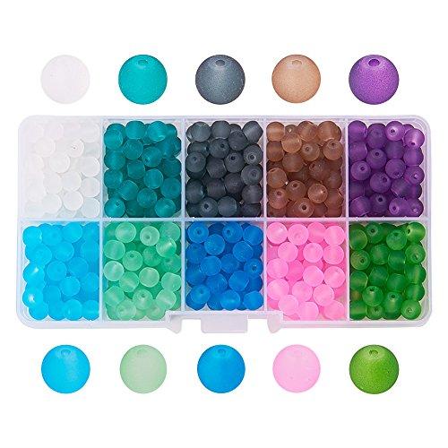 PandaHall Elite 1 Scatola (Circa 550-580pcs) 10 Colori 6mm Perle di Vetro Smerigliato Assortimento Lotto per la Produzione di Gioielli Perline Vetro Colorate per Braccialetti collane bigiotteria