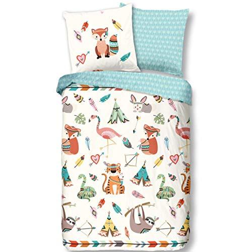 Aminata Kids Bettwäsche Indianer-Motiv 135x200 Kinder Cartoon-Style Muster Baumwolle Mädchen grün bunt - mit Reißverschluss - süße Wende-Kinder-Bettwäsche Set - Faultier, Blätter, Herzen & Federn