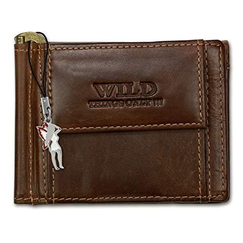 DrachenLeder Dollarclip Portemonnaie Quer Leder Wild Things Only Geldbörse, Farbe nach Auswahl OPJ121X, Braun, ohne