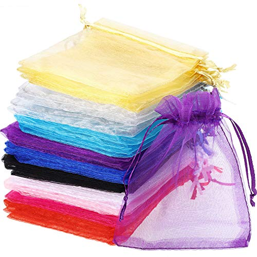 Mudder 50 Pack Organza Gift Bags Wedding Party Favor Bags Jewelry Pouches Wrap, 4 x 4.72 Inches (Multicolor)