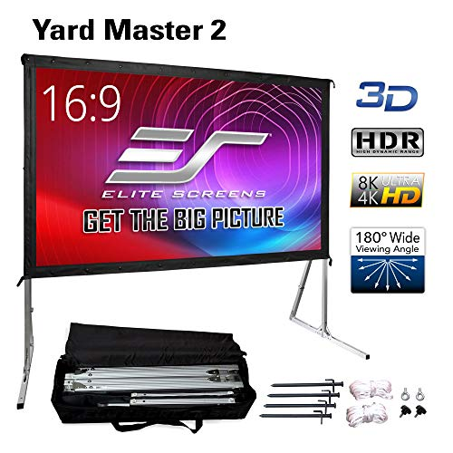 """Elite Screens Yard Master 2, 110 inch Outdoor Projector Screen with Stand 16:9, 8K 4K Ultra HD 3D Fast Folding Portable Movie Theater Cinema 110"""" Indoor Foldable Easy Snap Projection Screen, OMS110H2"""