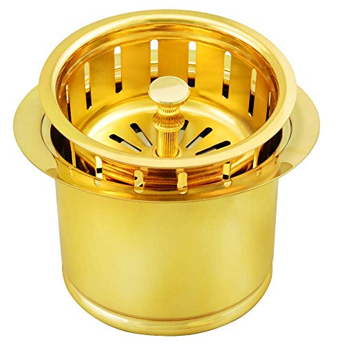 Kitchen Extended Sink Flange with Basket Strainer and Drain Stopper for Garbage Disposal Fit 3-1/2 Inch Standard Sink Drain Hole, Replacement for Deep Sink Flanges,Gold