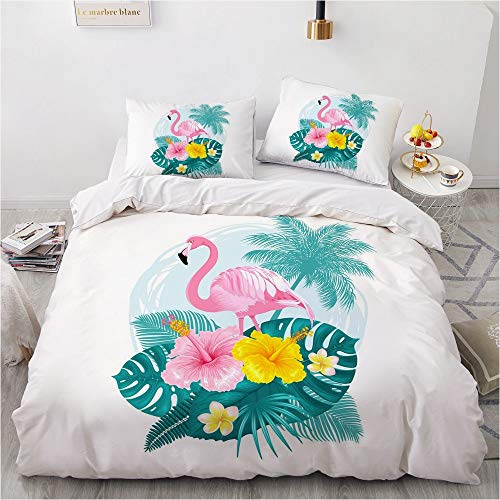 SUNHAON 3d Flamingo Double Bedding Duvet Set, Animal Double Duvet Cover Sets, Easy To Maintain Comfortable And Breathable Bedroom Products Single set(145×200cm) E