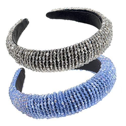 LIXILI Cedas Acolchadas con Cuentas Cristal de Vidrio Adorno de Cristal de Cristal Headband Hair Band Hoop Goth Cabeza de Boda Moda Accesorio para el Cabello,D