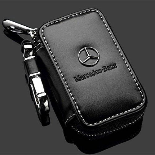 personalisierbar edlem Rindleder Leder Tasche Schlüsselanhänger Auto Schlüssel Ring für Mercedes