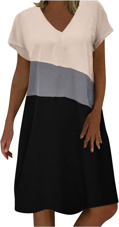 Smooto Womens Casual Two-Piece Dress Round Neckline Knee-Length Pocket Dress