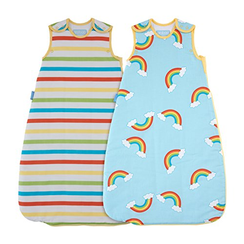 The Gro Company Rainbow Stripe Grobag Baby Sleeping Bag Wash and Wear Twin Pack, 18-36 Months, 1.0 Tog