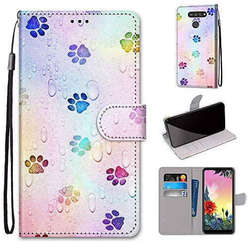LG K50S Hülle, SATURCASE Schön PU Lederhülle Magnetverschluss Brieftasche Kartenfächer Standfunktion Handschlaufe Handy Tasche Schutzhülle Handyhülle Hülle für LG K50S (DK-18)