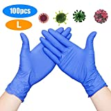 Rareccy 100PCS Disposable Nitrile Gloves Exam Gloves Latex-Free, Powder-Free Glove for Cleaning, Mechanics, Automotive, Industrial, Food Handling or Medical applications, Blue (Large)