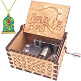 Beauty and The Beast Music Box Set with 24K Gold Plated Rose Necklace Inspired by Disney