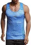 Leif Nelson Gym Herren Seamless Fitness Sport-Shirt ohne Ärmel Top Trainingsshirt Slim Fit Männer Bodybuilder Training Funktionsshirt Bekleidung für Bodybuilding LN8308 Blau-Reflekt Large