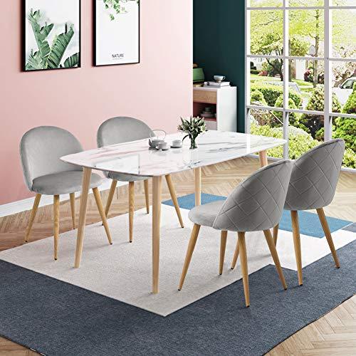 CLIPOP - Juego de 4 sillas de comedor de terciopelo con respaldo y patas de metal resistente de estilo de madera para salón, sala de estar, cocina, oficina y restaurante, Gris, 46*46*77 CM 🔥