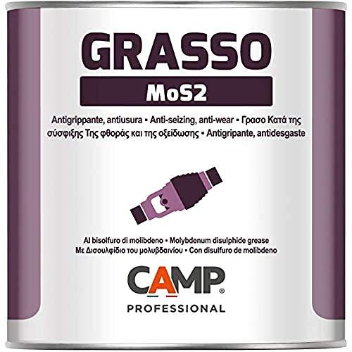 Camp GRASSO MOS2, Grasso Lubrificante al Bisolfuro di Molibdeno per Carichi Pesanti e Temperature Elevate, Anti-grippante e Anti-usura, 1 Kg