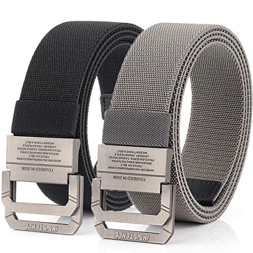 Hoanan Tactical Belts for Men 2Pack Elastic Stretch Military EDC Duty D-ring Belt 1.5' Wide(Black/gray-fit pant size: 41-49')