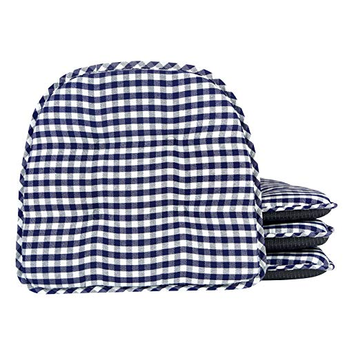 Klear Vu Tufted No Slip Dining Chair Pad Cushion, Set of 4, Gingham Navy