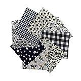 Tela de algodón 8pcs / Set para el Tejido de Costura de Costura de Tejido de remiendos de casa Tela de algodón de Tilda Serie Rosa Tela de Cuerpo de muñeca, 9.8' x 9.8' (25cm x 25cm),Black series