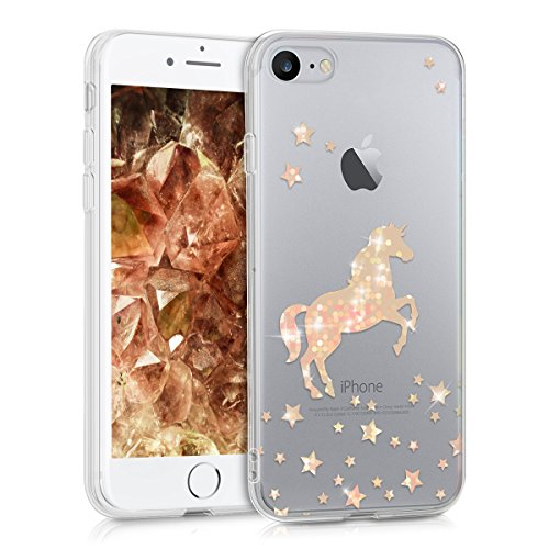 kwmobile Funda para Apple iPhone 7/8 - Carcasa Protectora de TPU con diseño de Unicornio Brillante en Oro Rosa/Transparente