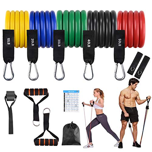 FITFIT Resistance Bands Set (12 Pack), Stackable up to 150lb, 5 Stackable Tube Exercise Bands with 2 Handles, 1 Door Anchor, 2 Ankle Straps, 1 Carrying Bag for Whole Body Resistance Workouts