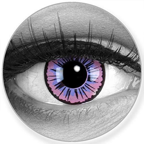 Funnylens Farbige lilane Kontaktlinsen Purple Fee - weich ohne Stärke 2er Pack + gratis Behälter – 12 Monatslinsen - perfekt zu Halloween Karneval Fasching oder Fasnacht