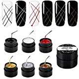 Pulling Line Silk ROSALIND Spider Gel Nails Sets, 6 Colors Nail Art DIY Gel Paint Design Point To Line Drawing And Painting Decoration Draw Silk Varnish
