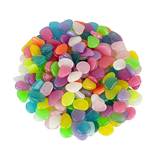 Alexen 200 Pcs Colorful Glowing Garden Pebbles, Glow in the Dark Decorative Stone for Walkways Decor, Luminous Stones for Plants Pot, Fish Tank etc,Colorful Luminous Plastic Pebbles