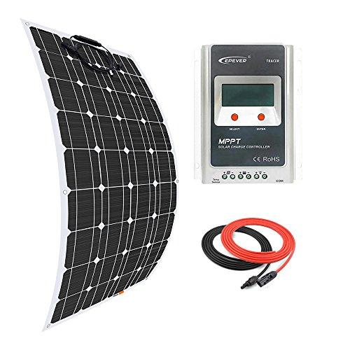 Giosolar Solarpanel 100W Flexibles Solar Panel Kit Akku Ladegerät Monokristallines 20A MPPT Solarladeregler Solarmodul Solarpanel für Boot Caravan netzferne
