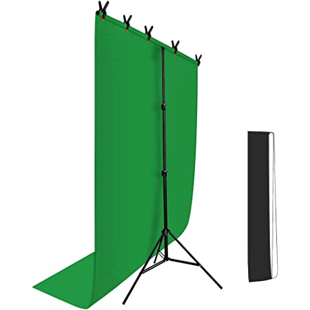 Hemmotop グリーンバック 背景スタンド T字型 150 x 200cm Zoom 撮影用 背景布 スタンド リモート用背景 クロマキースクリーン付き 撮影 スタンド 幅79と154cm 高さ82-192cm調整 在宅 テレビ会議 テレワーク オンライン飲み会