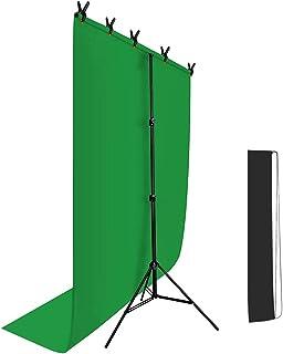 Hemmotop T字型 背景スタンド 150 x 200cm Zoomのバーチャル背景 クロマキー スクリーンと万能クリップ5個付き 撮影スタンド 背景サポート 82-192cm 高さ調整可能 背景布ブラケット 持ち運び便利 三脚 バックグラウンド 写真撮影用