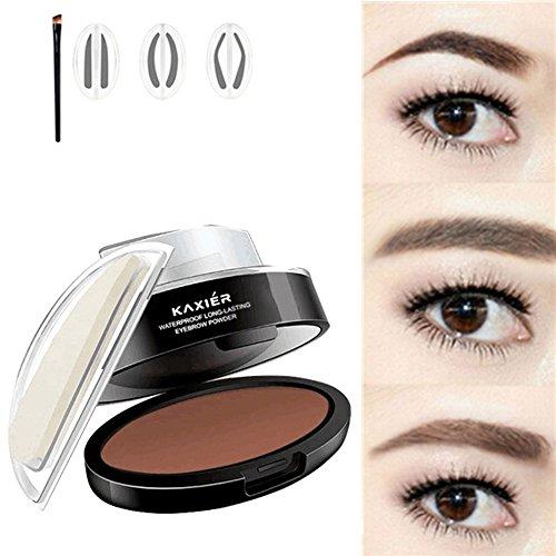 J.Causd Wasserdichte Augenbraue Stempel Pulver 3 Paare Pulver Stempel Augenbrauen Makeup Augenbrauen Schatten Wasserdichte (Dunkelbraun)