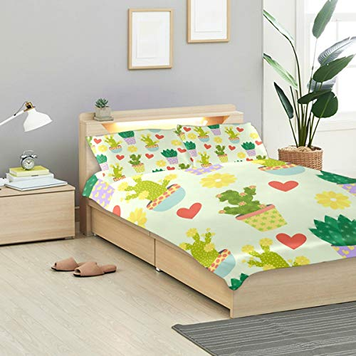 MONTOJ Cute Cacti Flowers And Hearts Twin Design 3 Pieces Set Easy Fit Standard Twin Size Cover with 2 Pillowslips for Teens Bed room Decoration