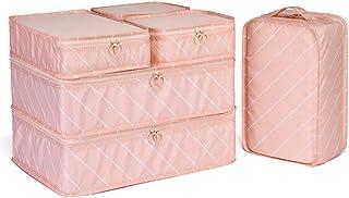 6 Set Packing Cubes, Travel Organizers, Travel Luggage Organizer Set with Shoe Bag (Pink Stripe)