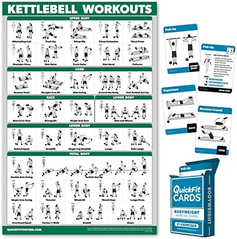 QuickFit 2 Pack Kettlebell Workout Poster Laminated 18 x 27 Bodyweight Exercise Playing Cards product image