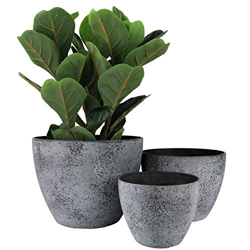 "LA JOLIE MUSE Outdoor Planters Pots for Plants Set of 3 - Tree Flower Plant Pots, Plant Container with Drain Holes, 14.2""+11.4""+8.7"", Rock Gray"