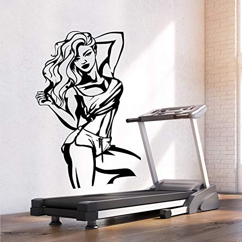 Pegatinas De Pared Gigantes, Love Sports Fitness Sexy Girl Vinyl Wall Stickers Girl Fitness Gym Art Deco Mural 2GY35-violet-57x94cm