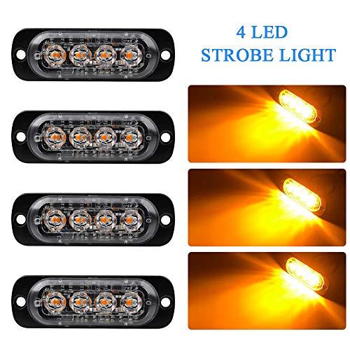 4pz Ultra Thin 4LED Luci di Emergenza Ambra Hazard Lampeggiante Luce Stroboscopica Luce Universale per 12-24V Car Truck Trailer Camper Moto Furgone