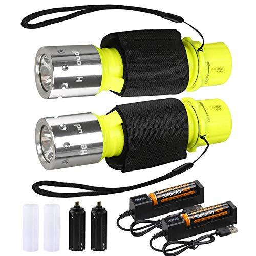 ShineTool wasserdichte Tauchen Taschenlampe, 2 Pack 1000 Lumen LED Tauchlampe 3 Modi USB Wiederaufladbare Unterwasser Taschenlampe Mit Akku & Ladegerät Zum Tauchen Schwimmen Wandern Camping Angeln