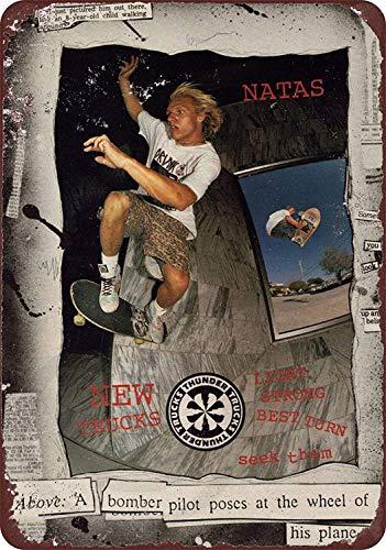 JULYCC Thunder Skateboard Trucks Natas Kaupases Metall Blechschild Wanddekoration Retro Mode Chic Lustig für Bar Cafe Garage Home Outdoor Hof 20,3 x 30,5 cm