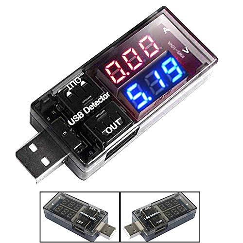 ARCELI USB Detektor Strom Spannungsprüfer Meter Rot + Blaue LED Zweireihige Anzeige Digital Voltmeter Amperemeter Ladegerät Doktor Schwarz
